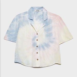 NWT tie dye gradient short sleeve button down top